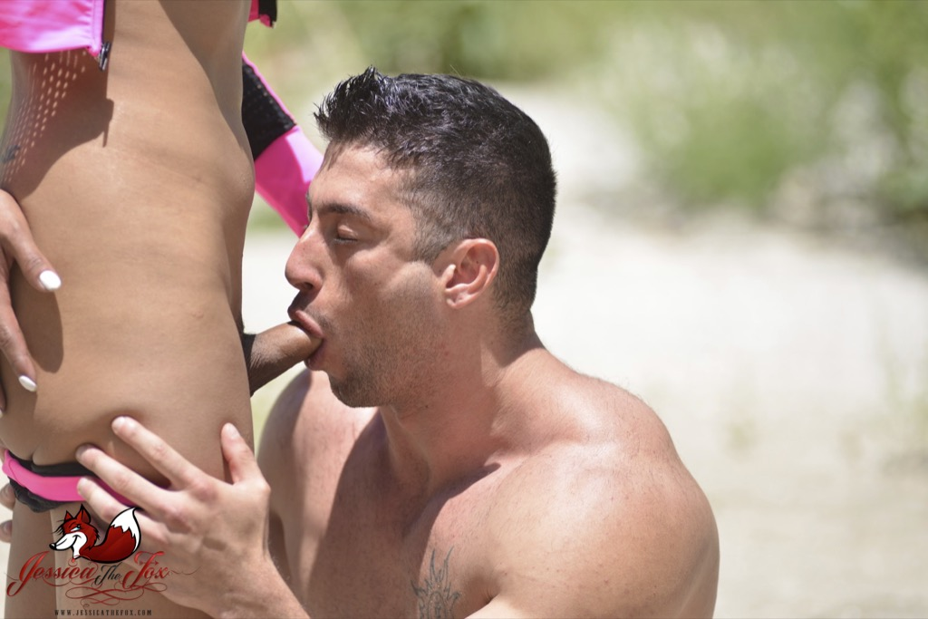 Guy suck TS dick on the beach