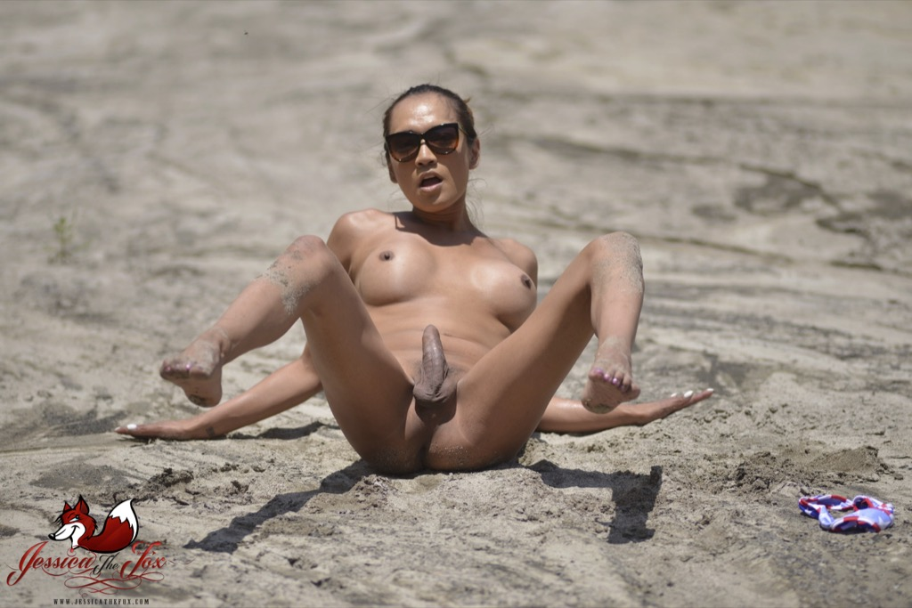 Naked TS on beach