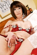 red head mom Asian TS wanking penis