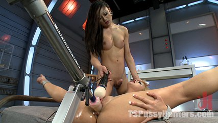 Sci-fi space fucking - girl with a beautiful cock ties up her alien shipmate and fucks her, cums on her and uses a machine to torment her pussy.